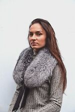 Luxury Finest Quality Silver Fox Fur Women's Furry Collar Scarf Shawl Wrap Neck
