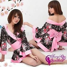 Women Satin Sexy Kimono YUKATA Bath Robe Sleepwear Lingerie Nighties Dress Gown