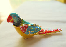 Brand New PARROT Limoge style enameled metal trinket box !  FREE SHIPPING !