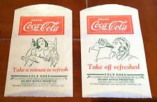 TWO 1932 Vintage Coca Cola NO-DRIP Bottle Protectors, Pilot and Woman on Chair