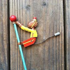 Vintage Original 1930s JOG-O CLIMBING TIN MONKEY Wooden Pole Toy NOS