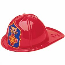 4 Children's US American Red Fireman Fire Chief Party Plastic Helmets Hats