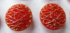 """24 Vintage 1950s Red & Gold 1.4cm  """"New Mode"""" Glass Buttons"""