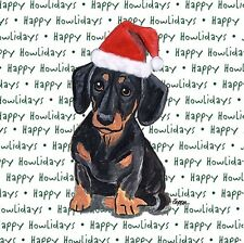 Dachshund Dog Coasters Christmas Themed Black