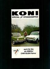 "KONI SPECIAL ""D"" 6 STOSSDÄMPFER SIMCA/CHRYSLER 1971 PROSPEKT (BROCHURE)"