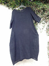 "CRUSHED LINEN BALLOON DRESS JET BLACK 44"" BUST BNWT LAGENLOOK ETHNIC ARTY"