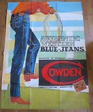 COWDEN Authentic Western bleu jeans rare affiche d'après OSCAR vers 1960