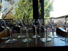 """Set (8) Sherbet Champagne Glasses 5"""" / Vintage Crystal etch floral Pulled Stem"""