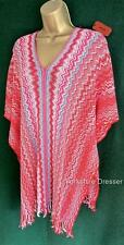 Nouveau MISSONI red rose candy stripe crochet kaftan boho cover-up poncho * authentique *