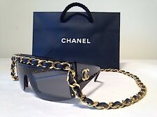 Authentic CHANEL Chain Sunglasses In Black & Gold - RARE Vintage Chain Drop