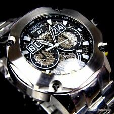 Men Invicta S1 Rally Silver Tone Steel Twisted Metal Black Chronograph Watch New