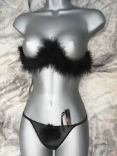 Ladies Black Sexy Marabou Feather Bra and G String  bra size 34 G string 10/12