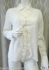 ARMANI Italy Designer Blouse Top white US8 / M 100% cotton NEW