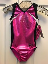 NEW GK Child Medium Elite Sequin Foil Leotard Gymnastics Dance Leo CM Girls Pink