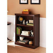 3 Shelf Bookcase Wood Book Shelves Furniture Adjustable Storage Cherry