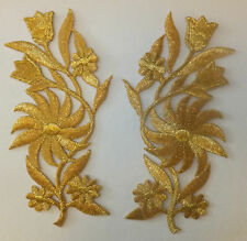 GOLD FLOWER PATCH X 2, metallic,  matching pair; SEW-ON/IRON-ON *Embroidered*