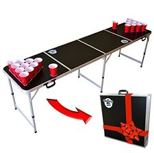Beer Pong  8-Foot Portable Game Room Or Tailgate Table Black Regulation Size NEW