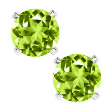 2.00 Ct Natural Green Peridot Gemstone 925 Sterling Silver Stud Earrings 6M