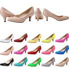 NEW STYLE WOMENS LADIES MID HEELS CASUAL SMART WORK PUMP COURT SHOES SIZE 2 - 9