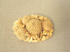 """Vintage Carved Celluloid Brooch Pin Costume Jewelry 1.75"""" Flowers Chrysanthemums"""