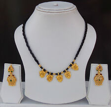 South Indian Bridal Jewelry Set Gold Plated Necklace Earrings Ethnic Mangalsutra