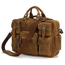 """Rare Crazy Horse Leather Men's Briefcase Laptop Bag Dispatch Shoulder Huge 16.5"""""""