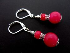 A PAIR OF FUCHIA BRIGHT PINK JADE DANGLY  LEVERBACK HOOK EARRINGS. NEW.