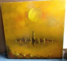 VTG 1960s MID Century Modern R Styles Skyline Sunset Wall Art Canvas Painting