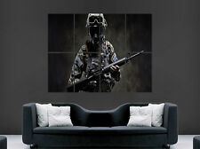 SPECIAL FORCES ARMY MACHINE GUN POSTER WAR GAS MASK ART PICTURE PRINT LARGE