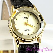 Omax Ladies Slim Gold Plt Seiko Movement Cut Glass Mineral, Leather Watch 8N8362