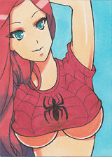MARY JANE comic art sketch card marker drawing sexy original aceo JD artwork