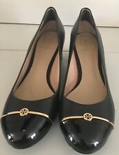 Tory Burch Pacey Black Leather Wedges Size 7.5M Gold Logo Closed Toe Pumps