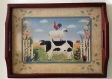 Pimpernel Country Folk Art Wooden Tray cow, sheep, rooster, serving or display