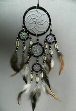 DREAM CATCHER BLACK SILVER CENTRE NICE QUALITY DREAMCATCHER DC9BL 9cm