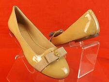 NIB TORY BURCH NUDE PATENT LEATHER TRUDY BOW GOLD REVA SMOKING FLATS 9 $250