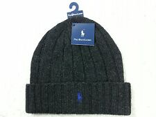 NEW Polo Ralph Lauren Men Woman's Winter Wool Beanie Hat - CHARCOAL - BLUE Logo