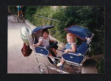 Vintage Photograph Two Adorable Babies Riding In Double Seat Carriage