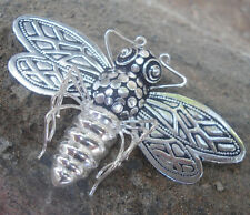 925 Sterling Silver Balinese Brooch/Pendant BEE Hand Carved