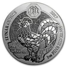 2017 1 oz Rwanda Year of the Rooster Lunar 999 Silver Coin Mint Packaging