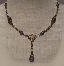 BRASS FILIGREE VIOLET PURPLE CRYSTAL TEAR DROP NECKLACE VICTORIAN EDWARDIAN DECO