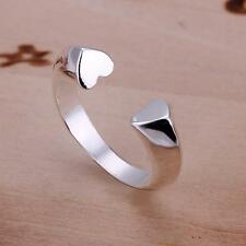 women's Fashion jewelry 925 sterling silver Ring double heart design gift
