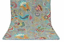 KANTHA QUILT BEDSPREAD COTTON HANDMADE PATCHWORK INDIAN BLANKET KING SIZE CRAZY