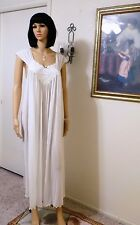 MISS ELAINE 1961 vintage Antron Nylon PURE WHITE Long Nightgown size L large