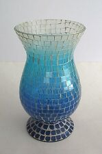 "Blue Sea Glass Mosaic Flower Vase or Candle Holder 10 1/2"" tall"