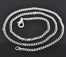 "Job Lot 48 Silver Plated Curb Chain 18""Necklaces + Lobster Clasp"