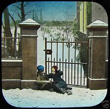 VICTORIAN TALE Glass Magic Lantern Slide AT THE EASTERN GATE NO2 C1890