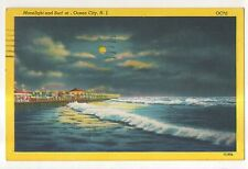 Moonlight and Surf at OCEAN CITY NJ Vintage Night View New Jersey Shore Postcard