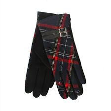 Tartan Traditions Scottish Black and Red Tartan Ladies Gloves with Brown Buckle