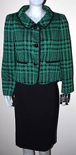 New $240 Evan Picone British Gardens Green Black Skirt Suit Blazer 8P