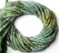 """Natural Gem Multicolor Moss Aquamarine Smooth 5MM Rondelle Beads 14"""" Top Quality"""